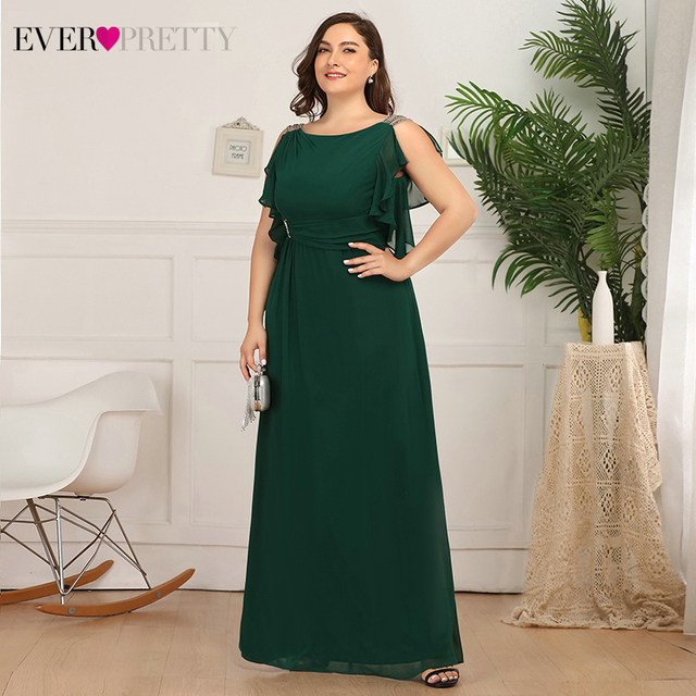 Plus Size Mother Of The Bride Dresses Ever Pretty EP07891 A-Line Ruffles Beaded O-Neck Farsali Wedding Guest Dresses Marraine 3