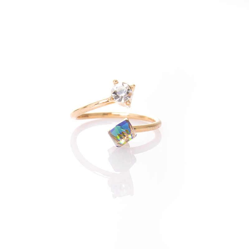 Новый корейский подарок на день Святого Валентина Цвет Кристалл розовое золото темперамент простой маленькая кольцо женский лучший подарок Изысканный оптовая продажа