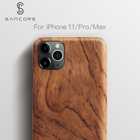 SanCore Original Real Wood Rosewood Cover Phone Shell for iPhone 11 Pro Max Natural Luxury Wooden Pattern Walnut Protective Case