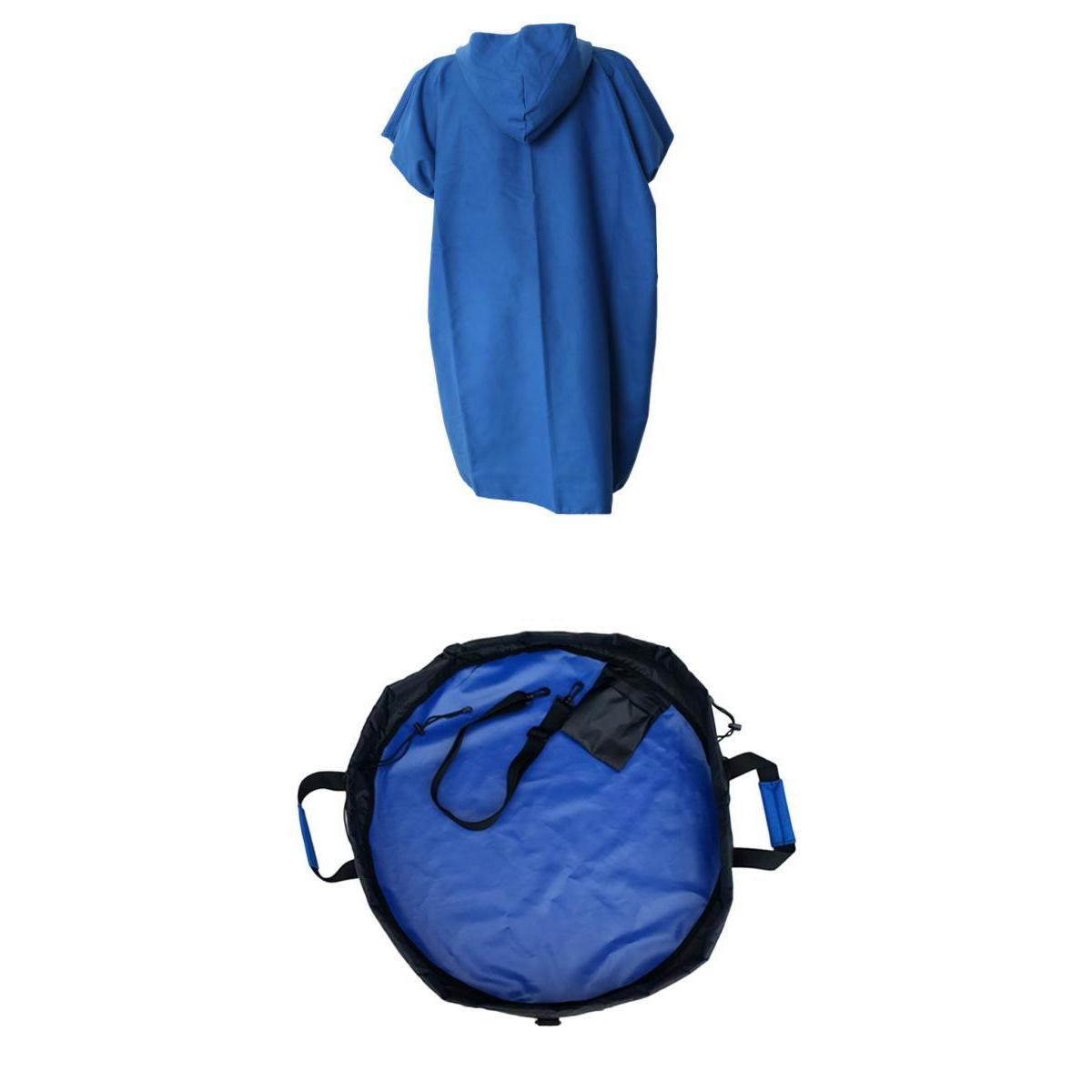 Portable Surf Poncho Robe With Hood Wetsuit Changing Towel+ Changing Mat Bag