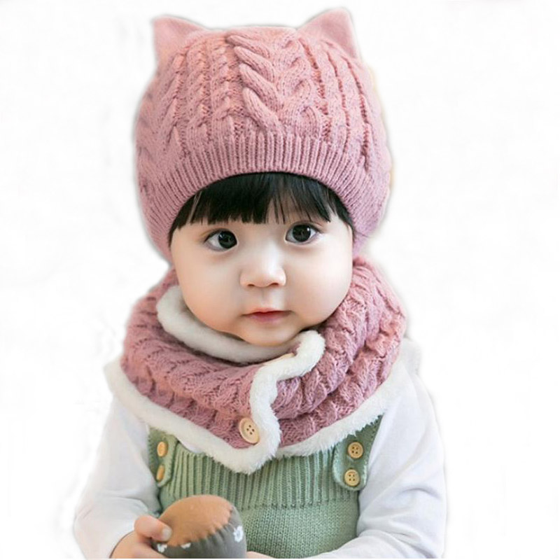 Doitbest 6 Months To 3 Years Old Baby Kids Beanie Puppy Twist Wool Solid Boys Knitted Hats Winter 2 Pcs Baby Girl Hat Scarf Set
