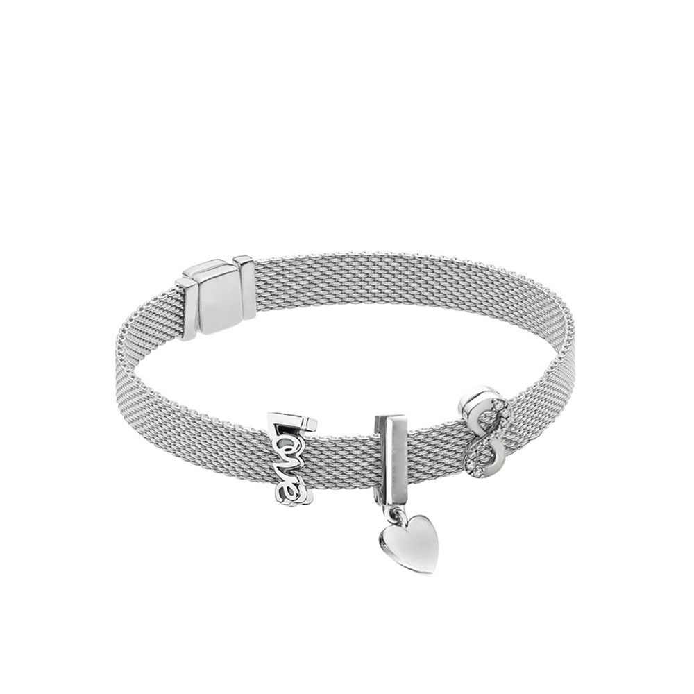 925 Sterling Silber Perlen Reflexion Armband Fit Pandora Charms Clips Zirkon Klar CZ Silber Farbe Perlen Machen Schmuck