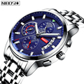 NIBOSI кварцевые часы для мужчин 2020 новый бренд спортивные часы для мужчин Стальной ремешок Военные часы водонепроницаемые синие наручные час...