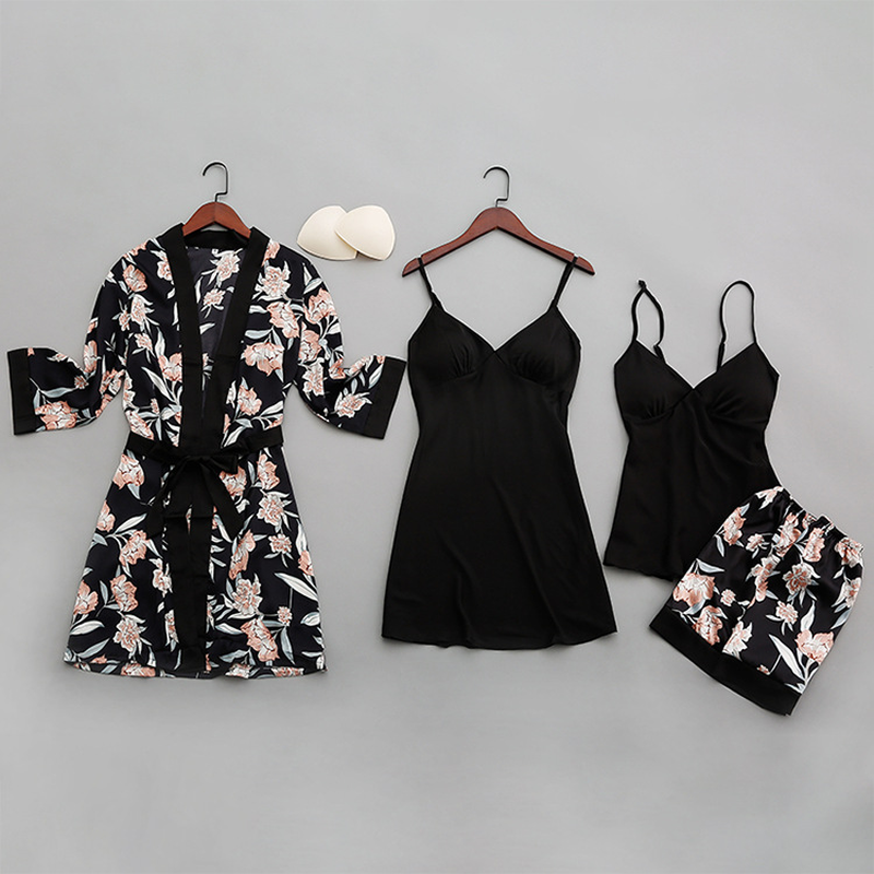 Autumn Sexy Women Pajamas With Chest Pads Print Silk Women Sleepwear Four-piece Sets Comfortable Pyjama Female Pijama 2019 Satin