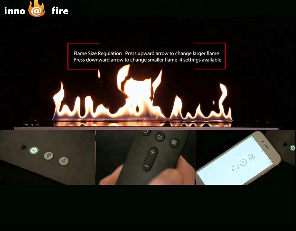 Hot Sale 60 Inches Modern Firepit Wifi Control Built In Fireplace