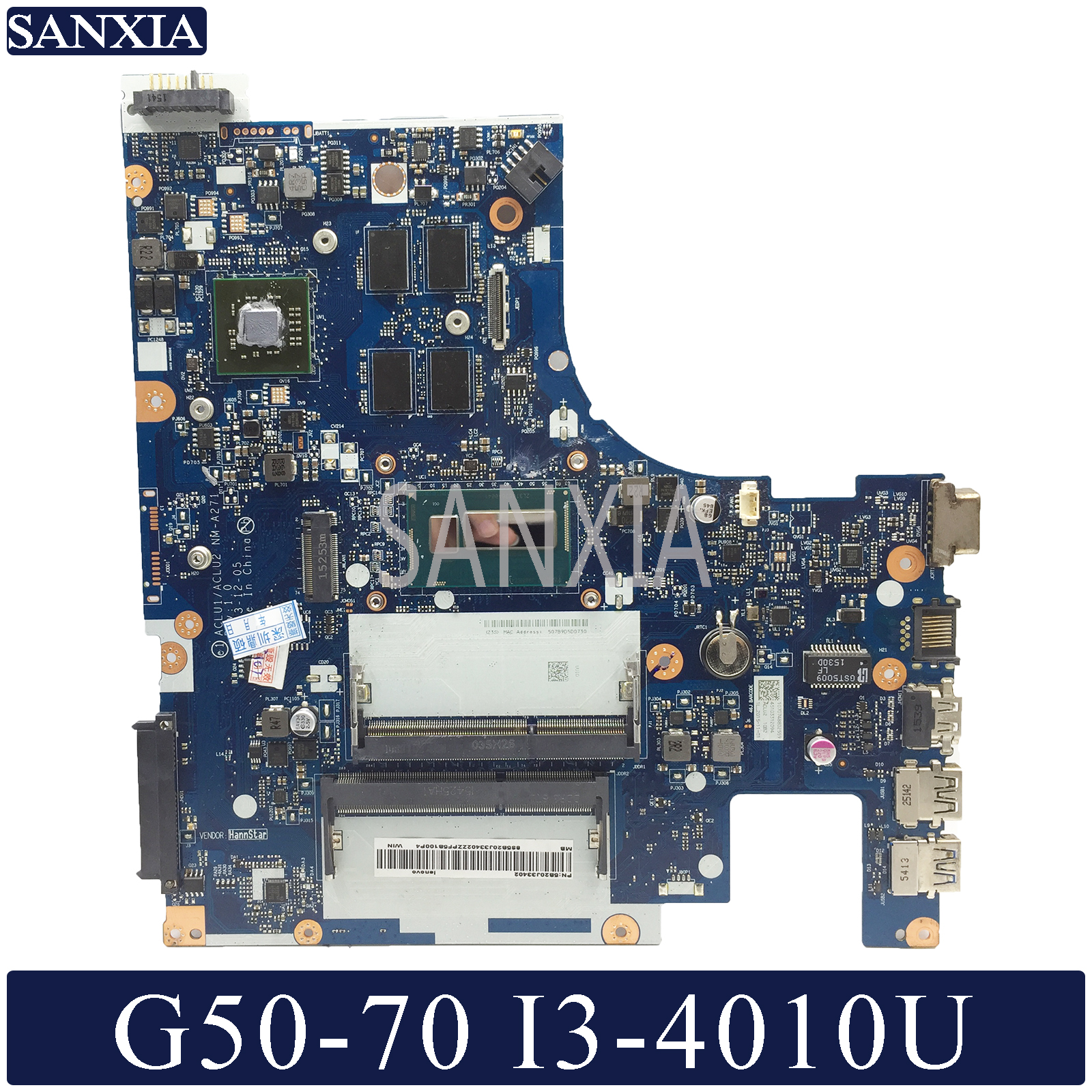 KEFU NM-A271 Laptop Motherboard For Lenovo G50-70 Original Mainboard I3-4010U