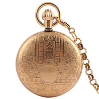 Black Steampunk Skeleton Pure copper automatic Men Antique Pocket Watch Mechanical Luxury Brand Necklace Pocket & Fob Watches