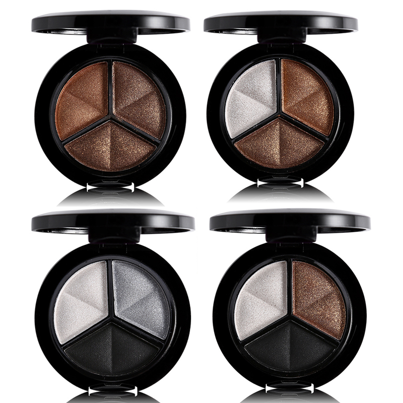 Professional Smoky 3 Colors Eyeshadow Makeup Palette Set Natural Shimmer Glitter Nude Eye Shadow Make Up With Brush & Mirror