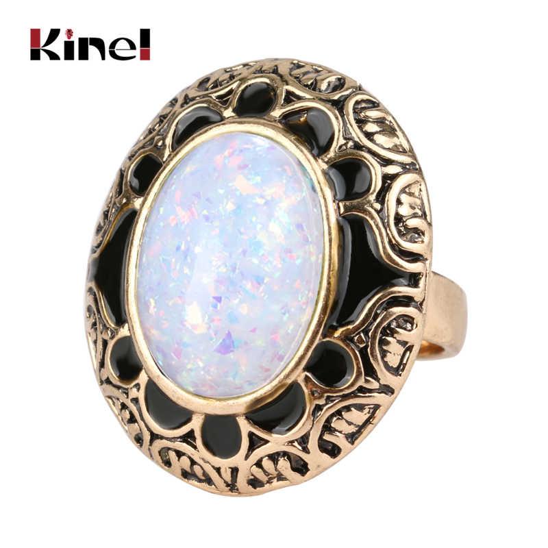 Kinel Hot Vintage หินโอปอลแหวนแฟชั่นทองโบราณเคลือบสีดำรูปไข่แหวนเครื่องประดับ Bohemian