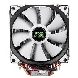 SNOWMAN 4PIN chłodnica procesora 6 heatpipe podwójne wentylatory chłodzenie 12cm wentylator LGA775 1151 115x1366 wsparcie Intel AMD w Wentylatory i chłodzenie od Komputer i biuro na