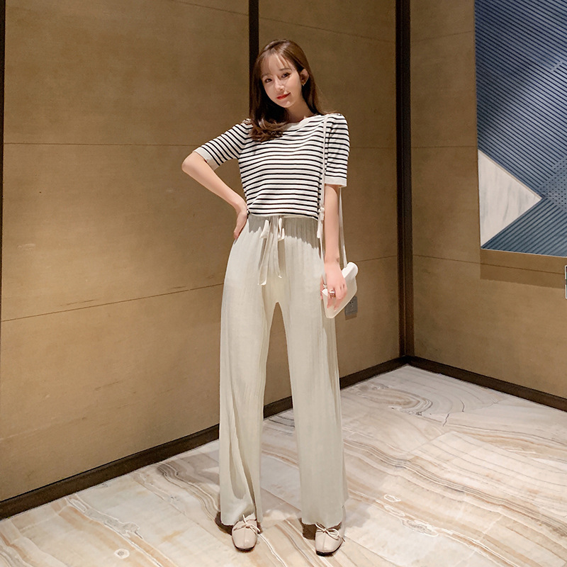 WOMEN'S Suit 2019 New Style Western Style Online Celebrity Summer Knitted Loose Pants Korean-style Short Sleeve Casual Two-Piece