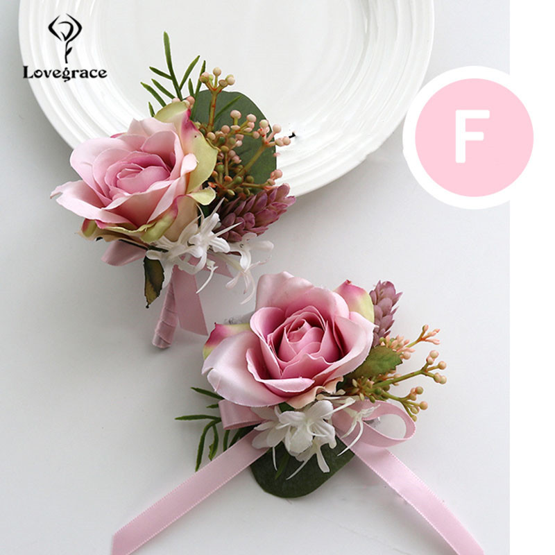 Lovegrace Wedding Corsages and Boutonnieres Flowers Silk Roses Pink Sister Brooches Corsage Pins <font><b>Marriage</b></font> Bracelet Accessories image
