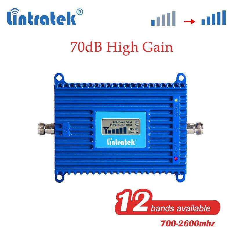Signal cellulaire de téléphone portable de répétiteur de propulseur cellulaire de Lintratek gsm 2g 3g 4g lte umts 900 2100 1800mhz 700 800mhz 4g amplificateur dd