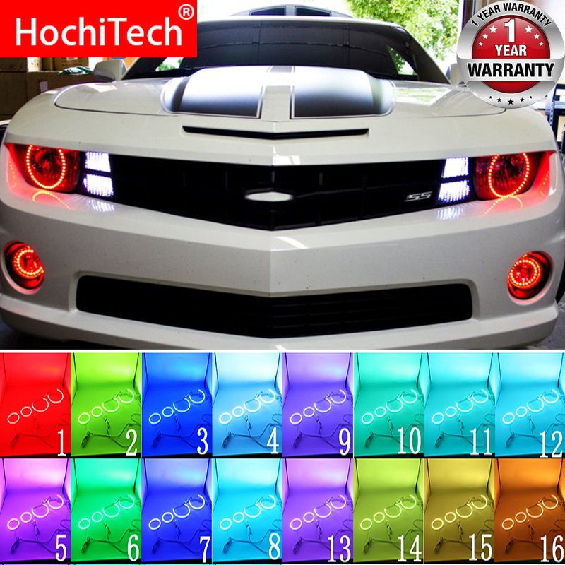 Multi-color RGB LED Angel Eyes Halo Ring Eye DRL RF Remote Control For Chevrolet Chevy Camaro 2010 2011 2012 2013 Accessories
