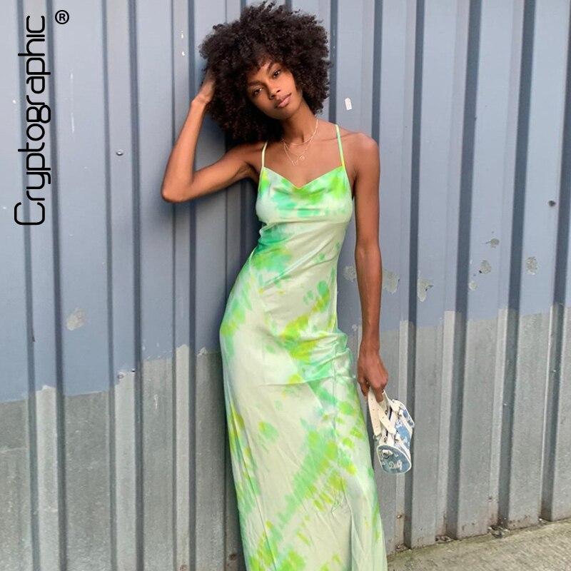 Cryptographic Fashion Print Elegant Bandage Sexy Maxi Dresses Women Party Night Spaghetti Strap Dress Slim Sleeveless Fall 2019