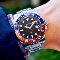 Parnis 40mm Automatic Mechanical Watch Men GMT Luxury Sapphire Crystal Ceramic Bezel Luminous Waterproof Calendar Wristwatch Men|Mechanical Watches|   -