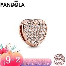 2020 новый 925 стерлингового серебра паве Сердце клип браслет
