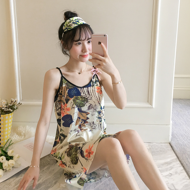 Viscose Pajamas Female Summer Korean-style Hipster Students-Slip Nightdress Thin Cute Loose-Fit Send Eye Patch Home Wear
