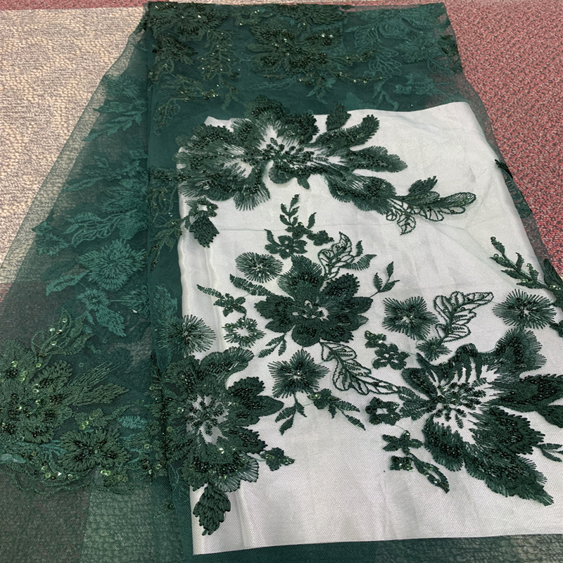 2019 Best Selling African Tulle Lace Fabric Flower Embroidery Swiss Voile High Quality Nigerian Lace Fabric Beaded For Bridal