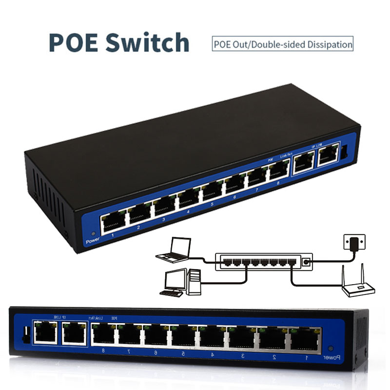 Over Ethernet Switch Power Over Ethernet POE Ethernet Switch Network Camera  Power Adapter 10 Ports 8 PoE Injector POE Power