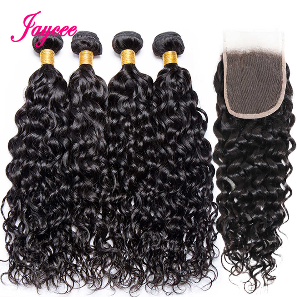 Jaycee Brazilian Water Wave Bundles With Closure Remy Human Hair Bundles With Closure 3 Bundles With Closure Hair Weave