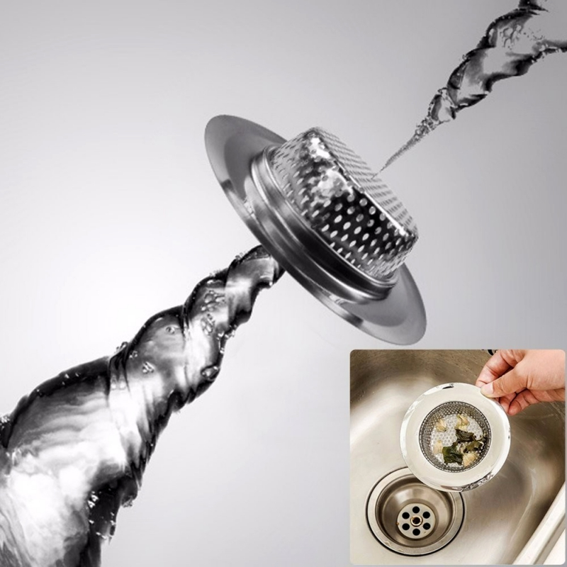 Kitchen Sink Filter Anti-Clogging Kitchen Sink Strainer Stainless Steel Sink Disposal Stopper Perforated Basket Drains Sieve