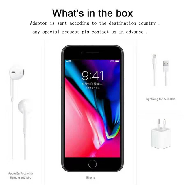 "Original Apple iPhone 8 Plus 5.5"" Hexa Core 12MP iOS 11 4G LTE 3GB RAM 64GB/256GB ROM Fingerprint 2691mAh used Smartphone"
