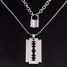 stainless steel double layer round necklace punk link chain circle pendant necklace hip hop women men fashion gothic jewelry Double Layer Padlock Pendant Necklace Punk Link Chain Key Lock Necklace Hiphop Women Men Fashion Gothic Jewelry Gifts