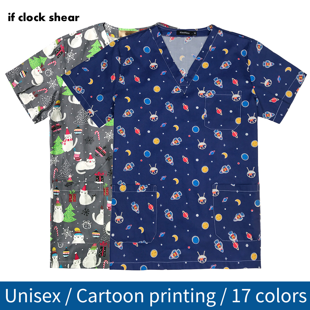 New Medical Surgical Uniform Pharmacy Nurse Scrub Tops Breathable Pet Hospital Doctor Overalls Spa Work Uniforms Printing Tops