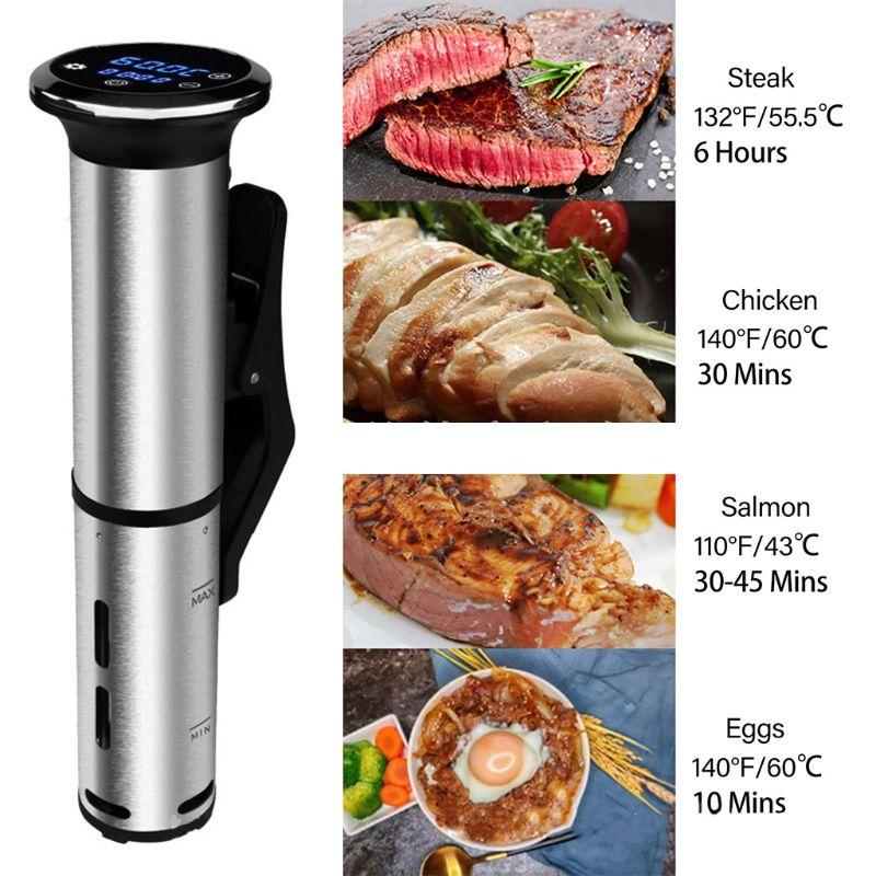 2nd Generation Waterproof Sous Vide Cooker Stainless Steel Immersion Circulator 1200W Vacuum Food Cooker Digital Display