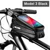 Wild man bolsa de bicicleta à prova de chuva, quadro frontal superior, refletor 6.5in, estojo para celular, touchscreen, acessórios para bicicleta mtb 10