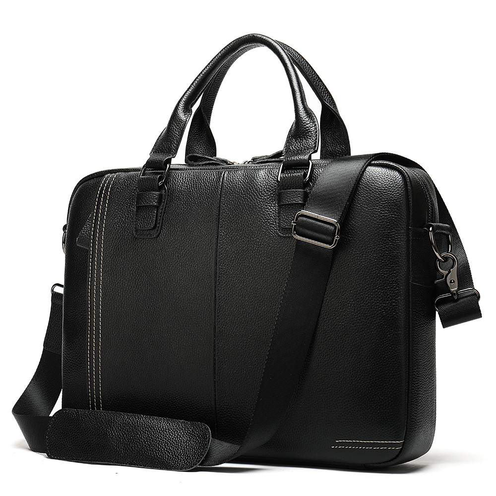 Leather Briefcases Men 14 Inch Business Briefcase Leather Handbag Shoulder Messenger Bag Man Portable KUMON Laptop Briefcase