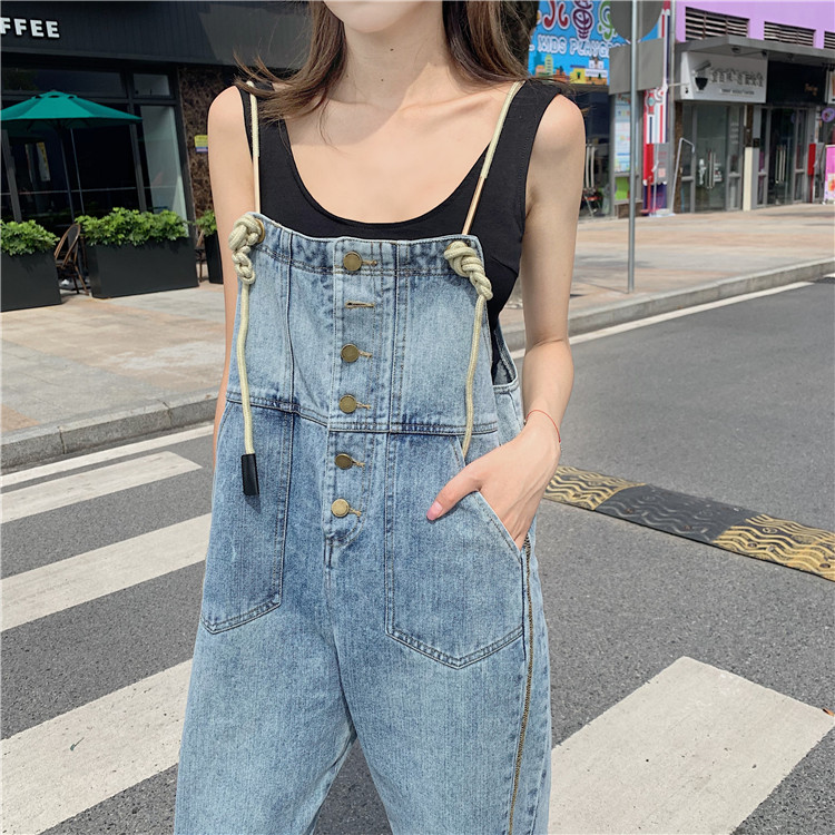 Qooth Vintage High Waist Jeans Overalls Women Big Pockets Denim Romper Ladies Wide Leg Harem Jumpsuits Capri Jeans QH2396