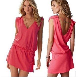 Hot Selling Summer Europe And America WOMEN'S Dress Elasticity Mercerized Cotton Beach Skirt Dress Bikini Apron Covers