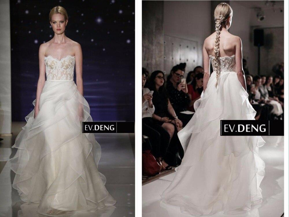 New Hot Sexy 2016 Organza Ruffles Sweetheart Casamento Vestido De Noiva Longo Lace Wedding Dress Bridal Gown Free Shipping