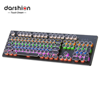 Mechanical Keyboard Gaming punk Round Retro Keycap Backlit USB Wired Computer Peripherals Russian for Desktop Laptop