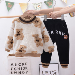 Boys' Plush autumn and winter suit  foreign style children's thickened and handsome boy's winter Korean fashion children's wear