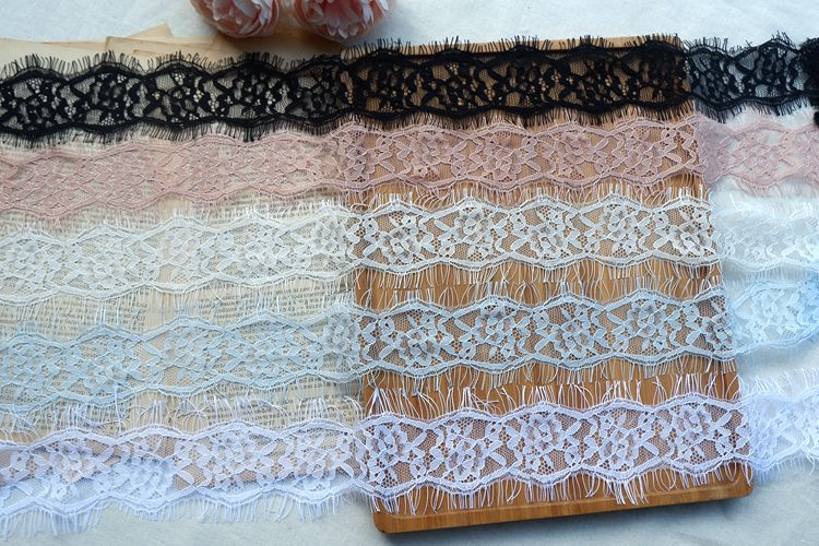 IN LACE  White with Pink 5 metres KNIT
