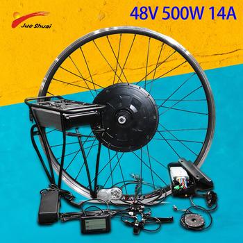 48V 250W 350W 500W zestaw do konwersji roweru elektrycznego piasta przednia koło silnikowe 48V zestaw do konwersji roweru na elektryczny Bicicleta Electrica tanie i dobre opinie CN (pochodzenie) Bezszczotkowy 48 v 400 w Silnik bezszczotkowy piasty biegów Electric Bike Rack Conversion Kit JueShuai