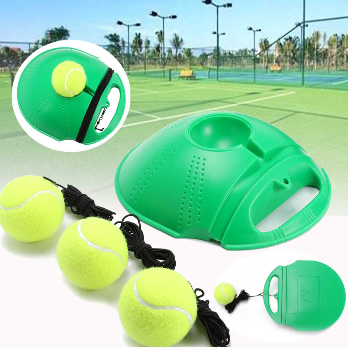 Tennis Trainer and Self-study Tennis Training Tool with Rebound Balls and Baseboard