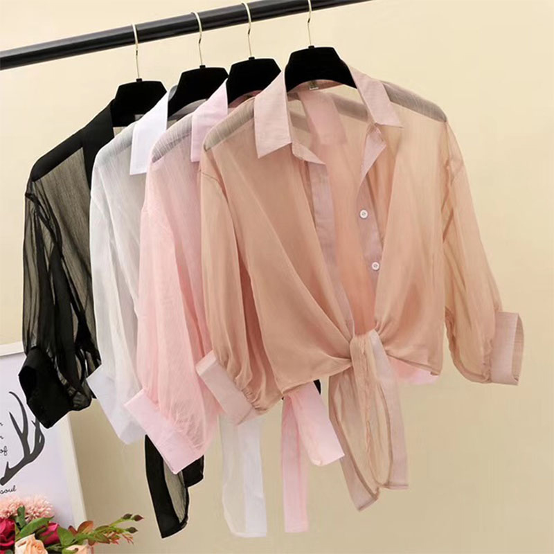 Spring and summer 2020 chiffon short sunscreen blouse knotted shirt shawl ladies small shirt transparent dress with suspenders