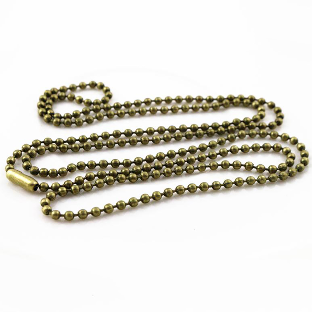 5pcs 2mm Bronze Plated  Ball Beads Chain Necklace Bead Connector 65cm(25.5 Inch)  (Z1-08)