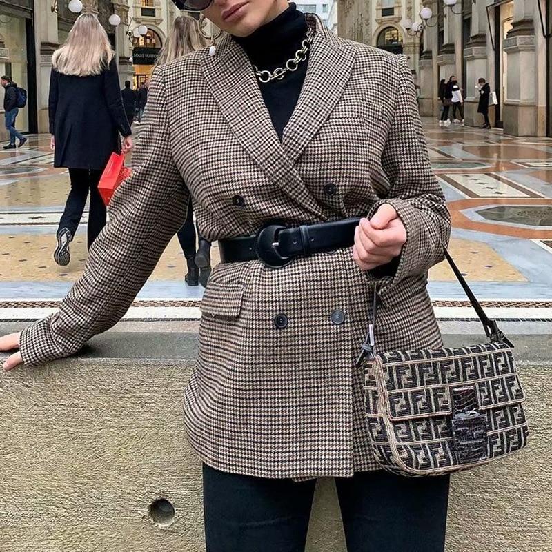 2020 New Women Plaid Blazer  Women Autumn Winter Trending Coat Fashion Elegant Long-sleeved Double-breasted Blazer Clothing