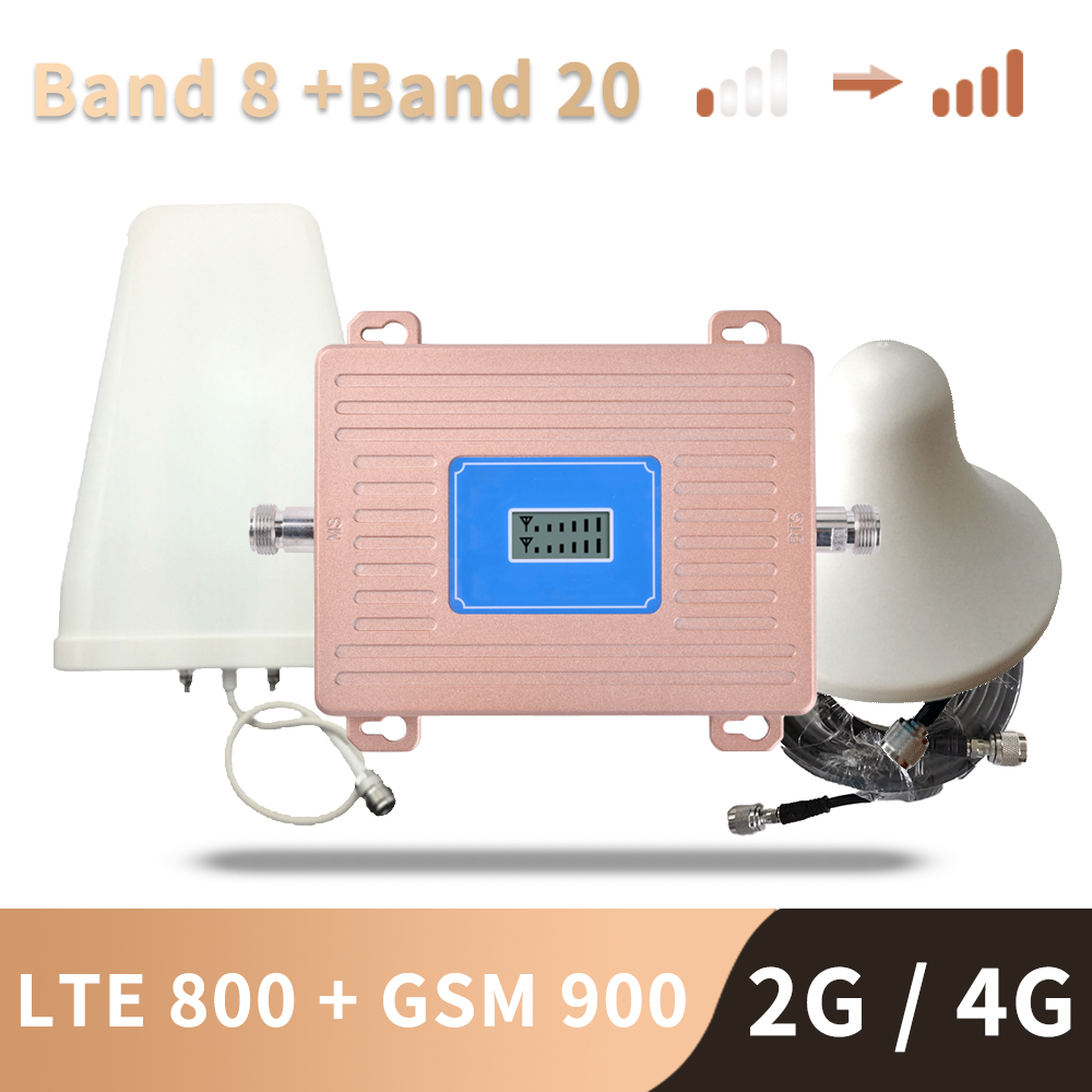 3G 4G Europe Signal Booster LTE 800 GSM 900 Mhz Cellular Signal Repeater 2G 3G 4G Dual Band LTE Amplifier Band 20 Band 8