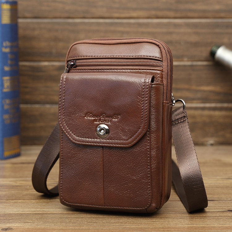 Men's Leather Mini Bag 7-Inch Running Bag Shoulder Bag Shoulder Bag Leather Mobile Phone Running Bag Wear Leather Belt