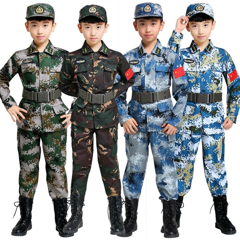 Disfraces de entrenamiento de combate militar para niños, ropa para el escenario, traje de camuflaje del ejército, 100-180cm