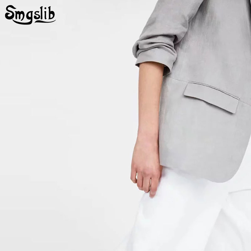 women chic grey Cotton and linen blazer plus size long sleeve Harajuku office wear coat solid female casual outerwear tops