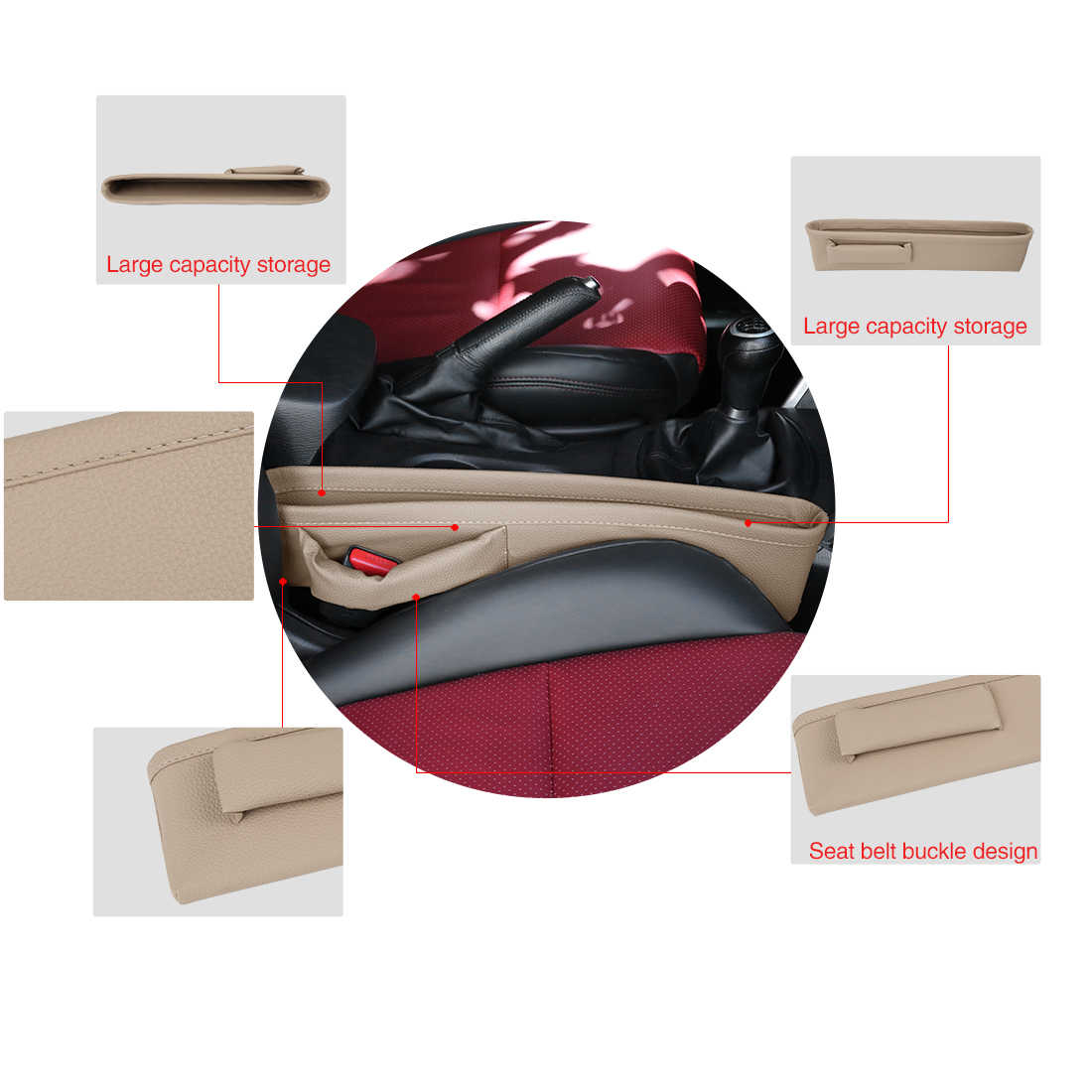 Uxcell Lederen Autostoel Gap Filler Zakken Multifunction Auto Zetels Pad Zachte Padding Telefoon Kaarten Houder Opslag Organisatoren