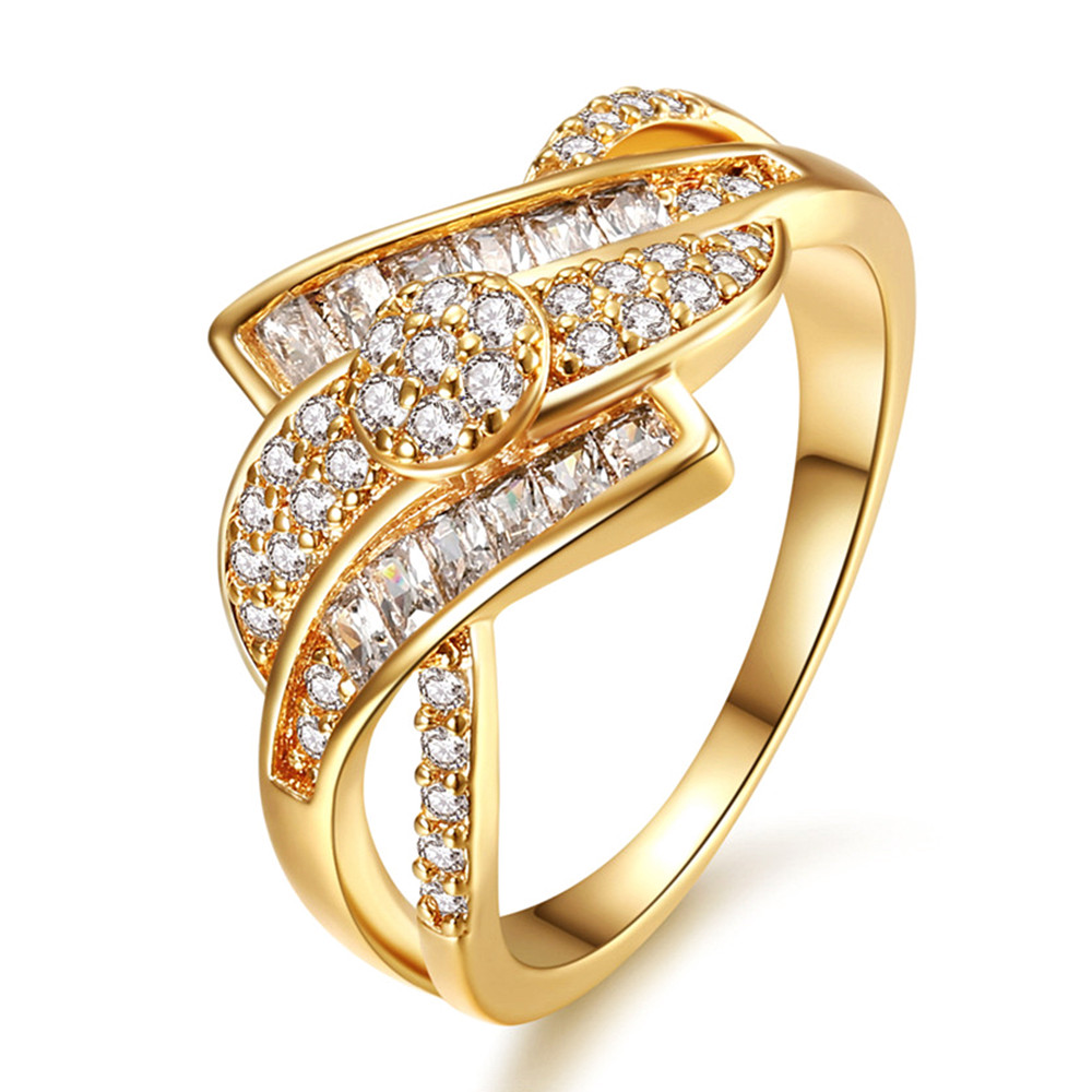 Full AAA Zircon Diamonds Rings For Women Femme 18k Gold Tone Monaco Fashion Luxury Jewelry Party Accessories Anillos Mujer Gift