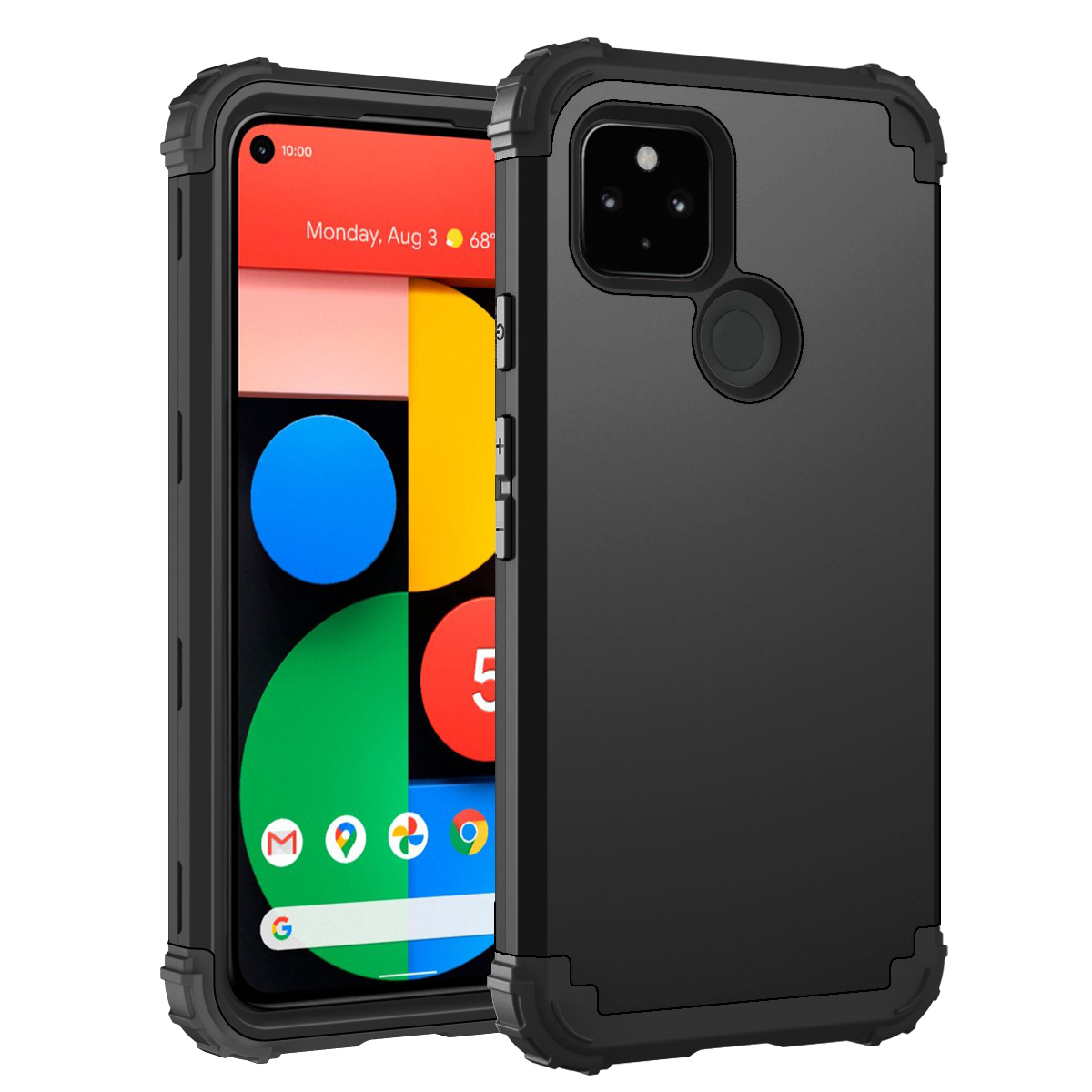 For Google Pixel 5 4 4XL 3 3A XL Shockproof Phone Cases ,PC+TPU 3-Layers Hybrid Full-Body Protect Anti-Knock Phone Shell